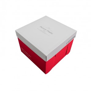 新品預購【方形緞帶蛋糕盒8吋-高雅紅(含托盤)】- 1箱100個