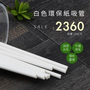 【環保紙吸管-白色】單支紙包裝 無毒安全 6*210mm - 1箱4000支