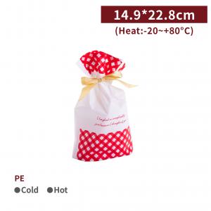 新品一週出貨【PE 緞帶束口袋 - 紅色格紋】14.9*22.8*6.5cm 抽繩袋 收納袋 禮品袋 - 1包50個