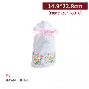 新品一週出貨【PE 緞帶束口袋 - 繽紛花朵】14.9*22.8*6.5cm 抽繩袋 收納袋 禮品袋 - 1包50個