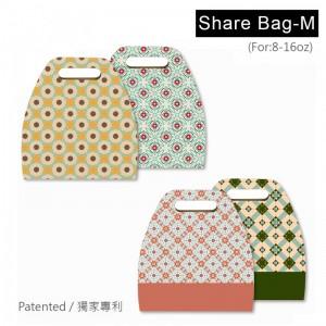 【分享袋 - 幾何花磚(M)- 四款混搭】專利 創新 獨家 咖啡提袋 - 1箱500個/1包50個