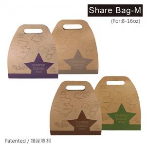 限量【分享袋 - 牛皮地圖(M)- 2入】專利 創新 獨家 咖啡提袋 顏色隨機出貨 - 1箱500個/1包50個