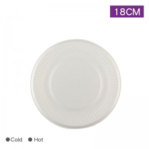 【環保甘蔗渣餐點紙盤 - 小】7吋18cm 白色 - 1箱1000個/1包10個