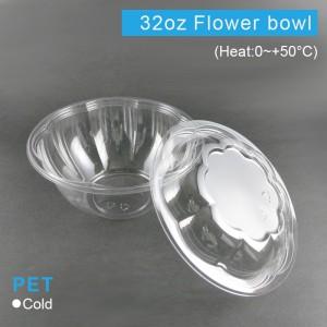 【PET花型沙拉碗&蓋 32oz/960ml】175口徑*高81mm - 1箱150組(碗含蓋)