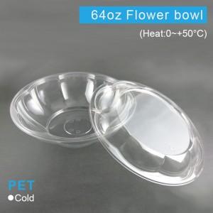 【PET花型沙拉碗&蓋 64oz/1920ml】254口徑*高68mm - 1箱100組(碗含蓋)
