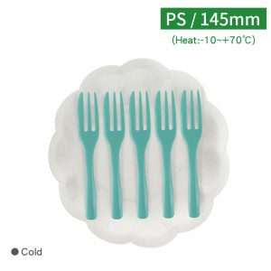 【花型蛋糕盤叉-白盤/薄荷叉】PS 叉子145mm - 1箱200組/1組各5入