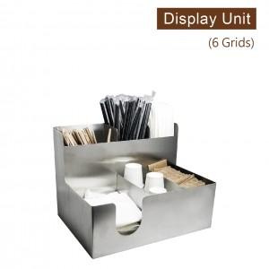 【工業風收納架(複合直6格)-不鏽鋼】金屬陳列架 杯架 杯蓋架 外帶包材收納架