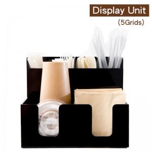 【冷靜收納架(複合直5格)-黑色】壓克力陳列架 杯架 杯蓋架 外帶包材收納架