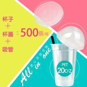 【透心涼組合箱20OZ】PET杯 杯蓋 吸管 - 1箱500組