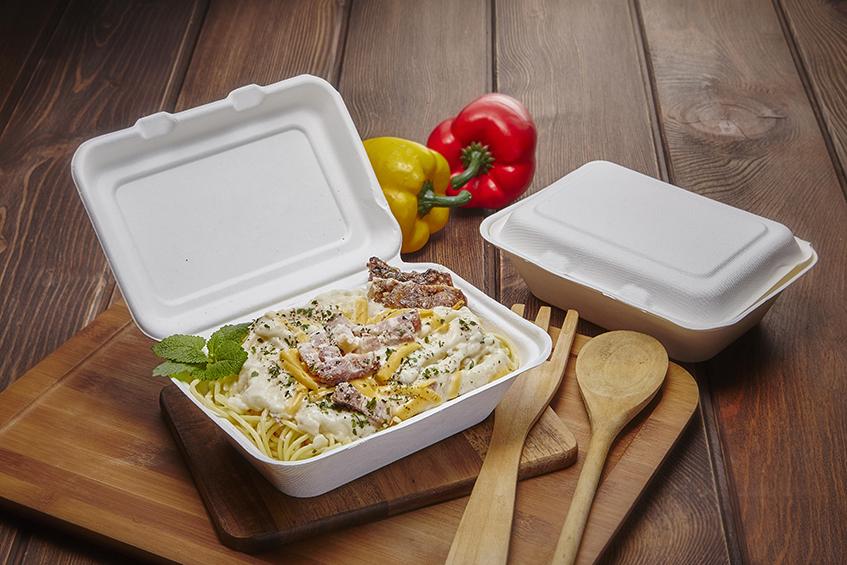 自扣式 甘蔗渣 紙漿 可微波 微波盒 便當盒 外帶 外送 外賣防疫 環保餐盒 一次性