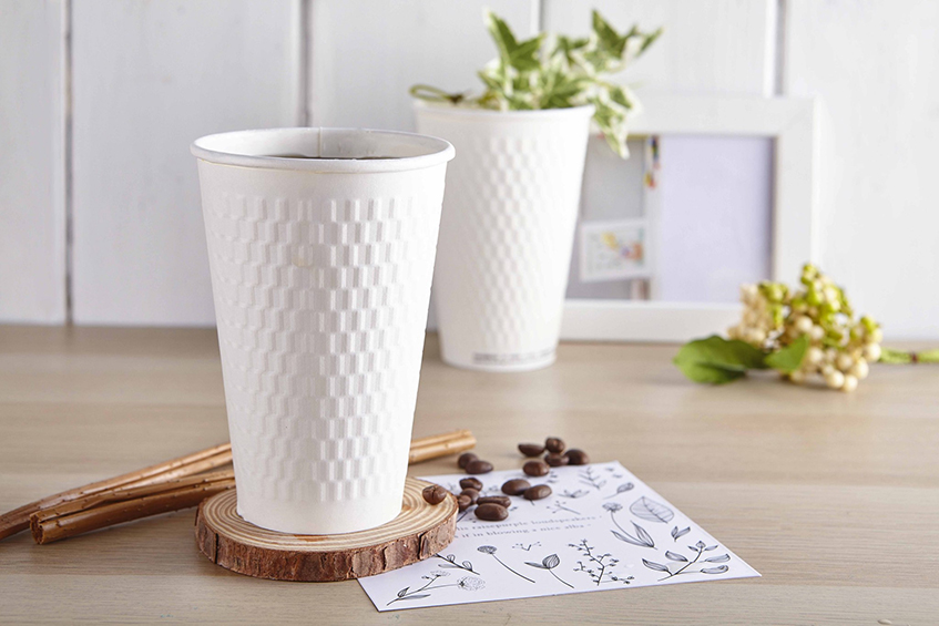 16oz 菱格紋  白杯 90口徑 130mm 480ml 質感 熱杯 隔熱紙杯 熱飲杯 加厚紙杯 耐熱杯 防燙杯 雙層杯 隔熱 一次性紙杯 雙層熱飲紙杯 咖啡杯 PE單面淋膜