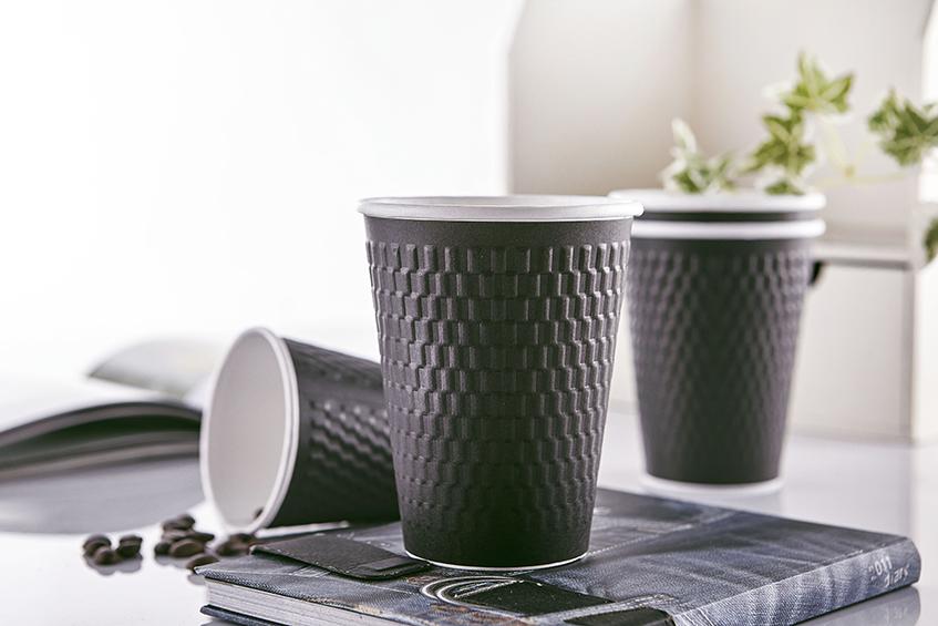 12oz 菱格紋 黑色 90口徑 112mm 質感 3D 立體壓紋 環保 可回收 360ml 熱杯 隔熱紙杯 熱飲杯 加厚紙杯 耐熱杯 防燙杯 雙層杯 隔熱 一次性紙杯 雙層熱飲紙杯 咖啡杯 PE單面淋膜
