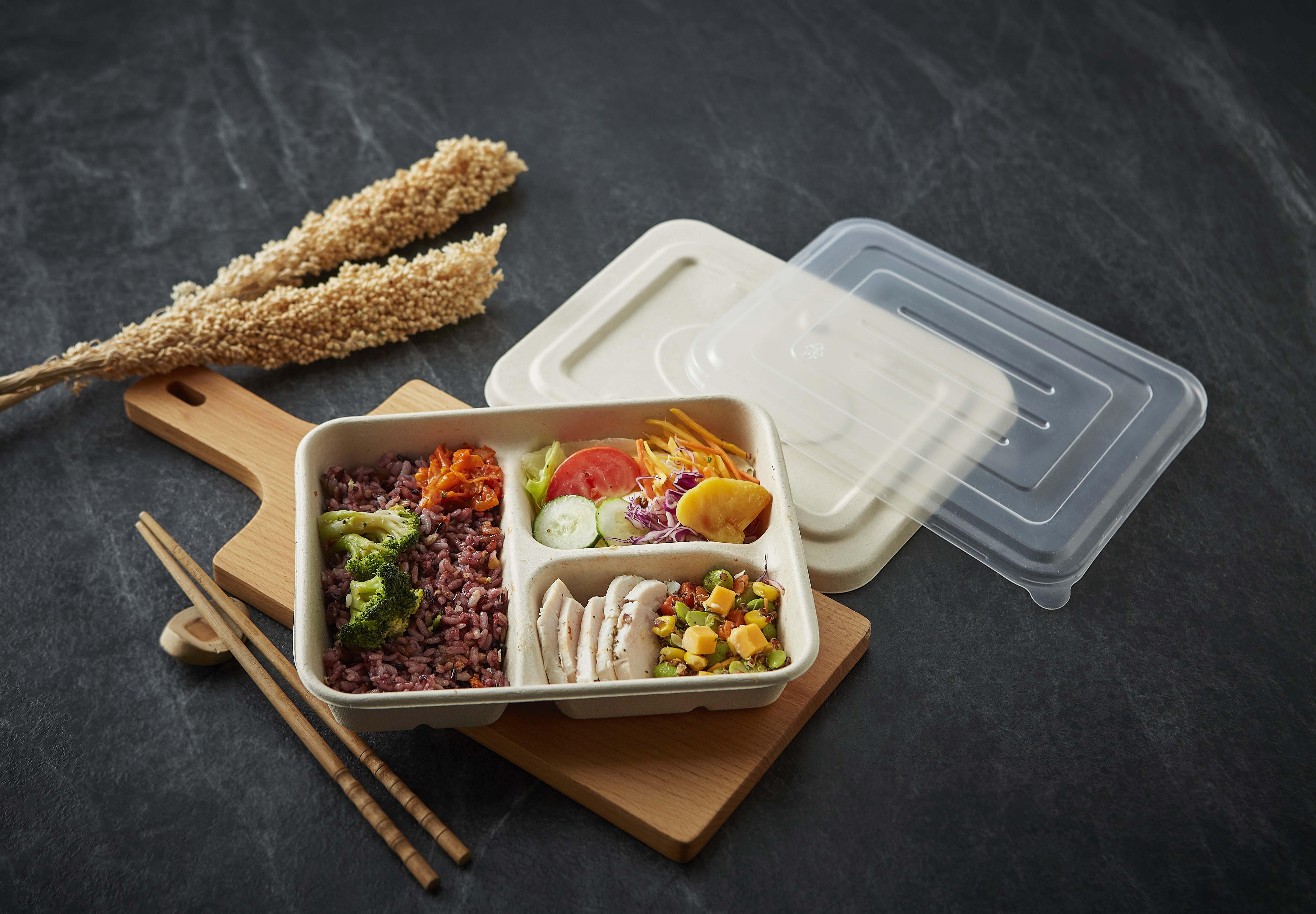 【方型小麥桔梗三格餐盒-小(含蓋)】方形 免洗餐盤 便當盒 環保餐盒 外帶盒