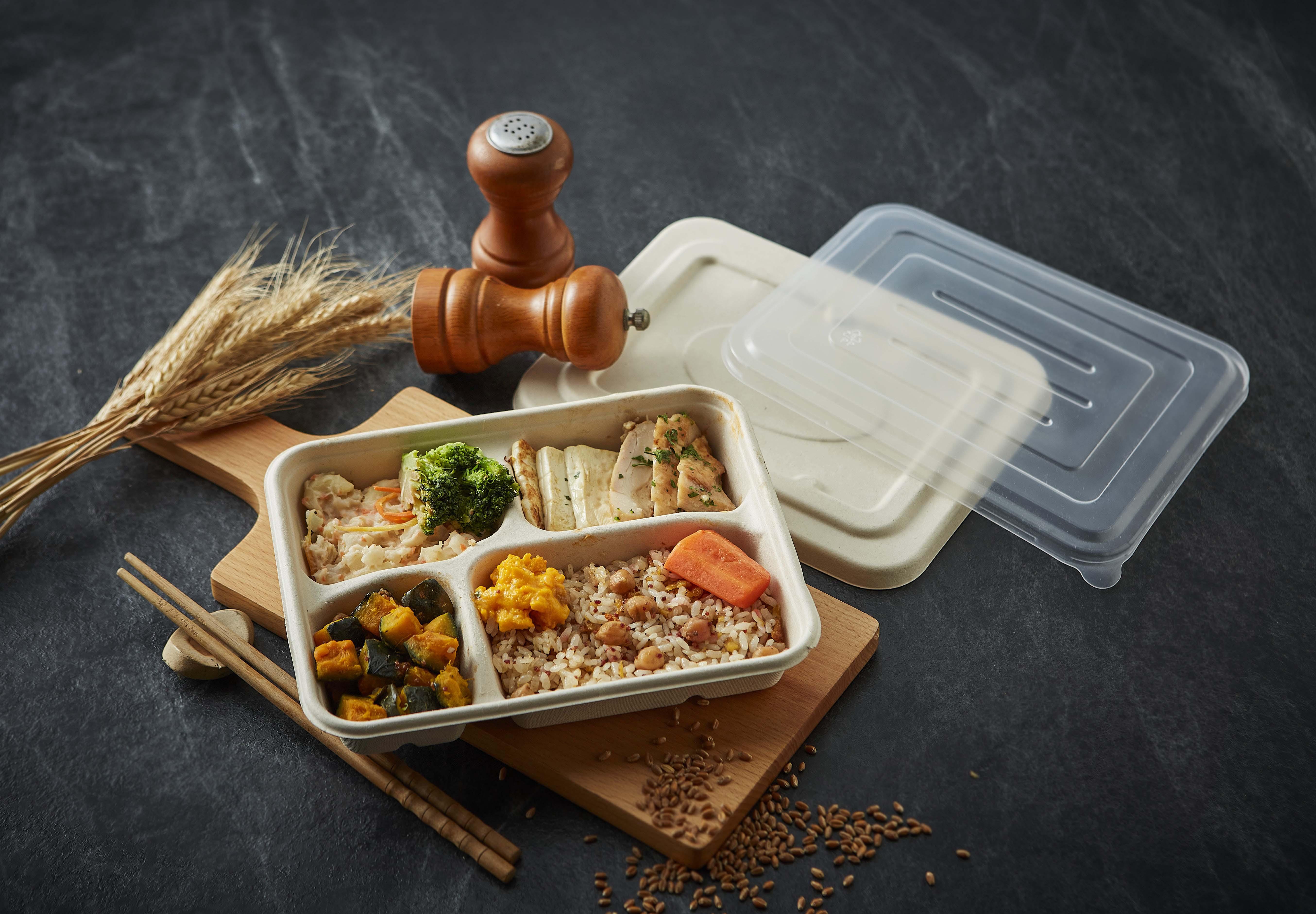【方型小麥桔梗四格餐盒-小(含蓋)】方形 免洗餐盤 便當盒 環保餐盒 外帶盒