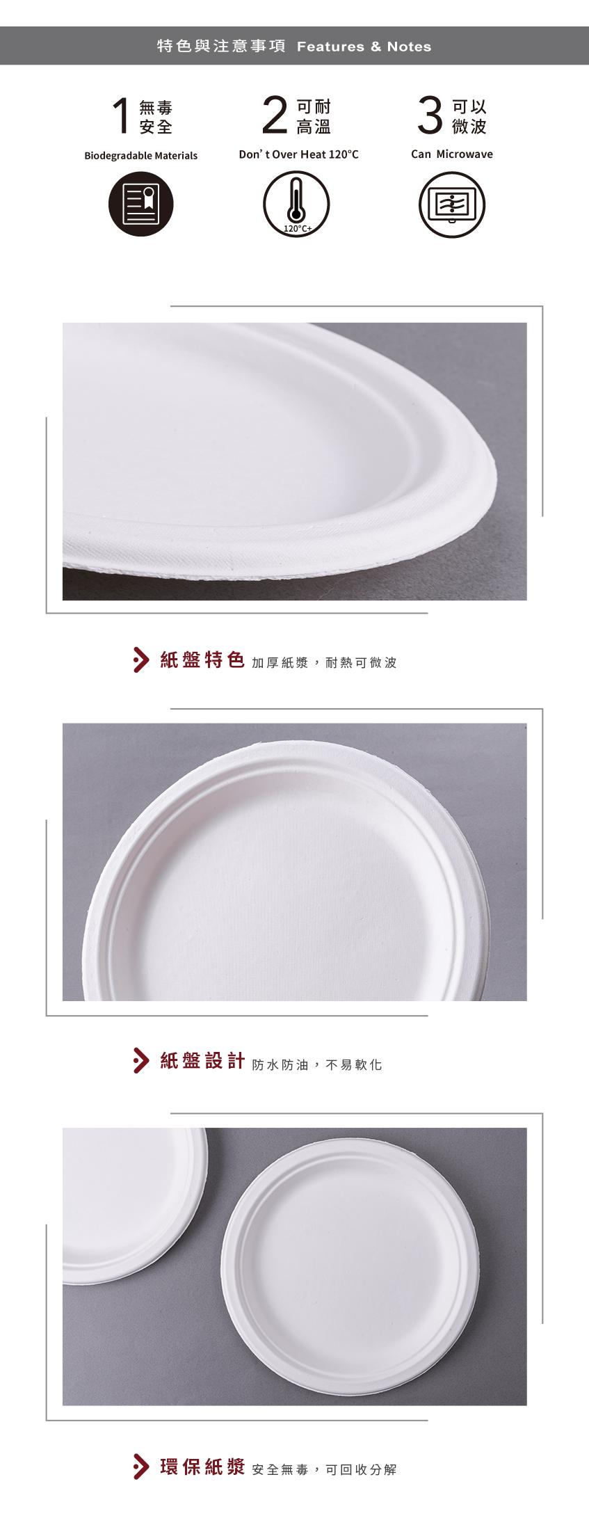 【紙漿盤 - 9吋】226*20.6mm 白色 圓盤 免洗盤 紙盤 點心盤 餐盤 免洗餐具